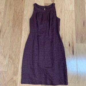 Loft Purple Linen Sleeveless Sheath Dress